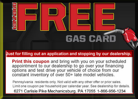 Free Gas | Bad Credit Car Loans in Harrisburg PA